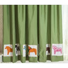 Horse Kitchen Curtains Green Horse Thermal Kids Nursery Curtains