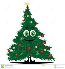 funny christmas tree stock vector image of cartoon face 27376256