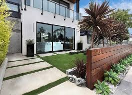 modern front yard landscaping luxurious house design with gorgeous roof terrace and modern home