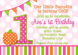 Pumpkin Invitation Polka Dot Pumpkin 1st Birthday Party Invitation