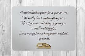 wedding gift poems 50 personalised money wedding poems honeymoon wish poem card