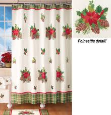 Holiday Bathroom Rugs by Poinsettia Shower Curtains Christmas Wikii