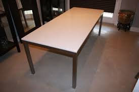 room and board custom table hand made modern stainless steel parson dining table by refined