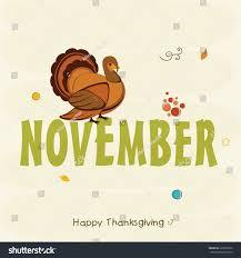 Thanksgiving Bird Stylish Text November Turkey Bird Thanksgiving Stock Vector