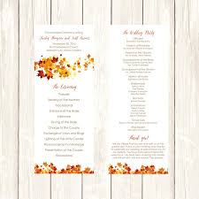 fall wedding programs wedding program diy template fall swirling leaves editable