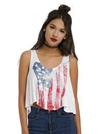 Flag Crop Top Distressed American Flag Girls Crop Tank Top Topic