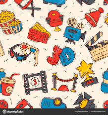 seamless pattern creator movie cinema icons vector moviemaking creator hand drawn sketch