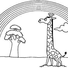 giraffe watching beautiful rainbow coloring giraffe