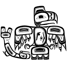 haida art eagle and salmon canadian art coloring page art