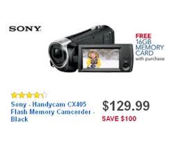 sony black friday sale 129 99 sony handycam cx405 flash memory camcorder black deal at