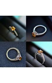 white gold plated sterling silver november birthstone citrine