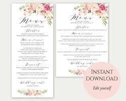 Wedding Invitations With Menu Cards Wedding Menu Template 5x7 4x9 Wedding Menu Cards Menu