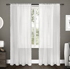 Kids Curtains Amazon Amazon Com Exclusive Home Curtains Kids Pom Pom Textured Sheer