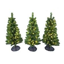 3 ft pre lit led colorado spruce artificial pathway trees with
