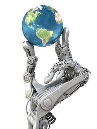 the  world in a robotic hand