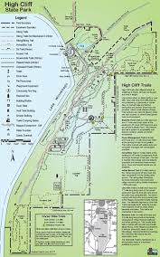 high cliff state park map wisconsin state park maps dwhike