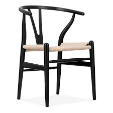 hans wegner style black wishbone chair with natural seat cult uk