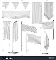Blank Brazil Flag White Blank Flag Mockup Set Isolated Stock Vector 598077593