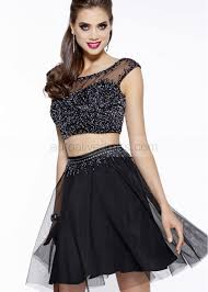 mini scoop neckline two pieces black beaded tulle knee length prom