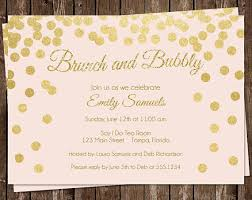 chagne brunch invitations wedding shower invitations pink gold confetti chagne