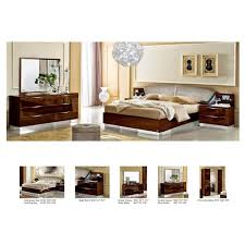 Bed And Nightstand Set Onda Bedroom Set Walnut Bed 2 Nightstands Double Dresser And