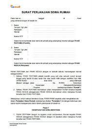 contoh surat perjanjian sewa rumah kontrakan pdf doc lamudi