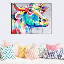 beautiful big paintings handmade wall painting color cow picture