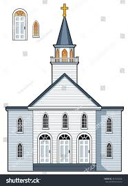 american colonial style church building alternate stock vector