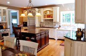 Two Tone Cabinets Kitchen Two Tone Staining Cabinets Kitchen And Granite Andrea Outloud