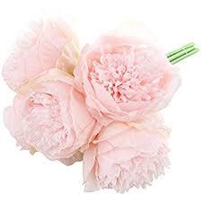 peony bouquet silk peony bouquet 5 heads light pink soledi