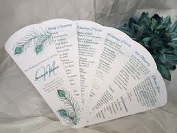 petal fan programs flowing peacock wedding program petal fan https www etsy