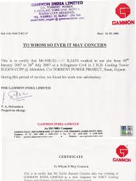 Experience Letter India gammon india ltd certificate