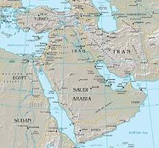 middle east map with country name middle east