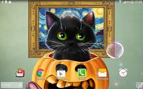 black cat halloween wallpaper cute halloween live wallpaper android apps on google play