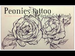 peonies tattoo drawing details shading youtube