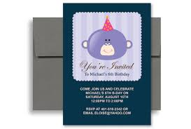 fun monkey photo boy birthday invitation wording 5x7 in vertical