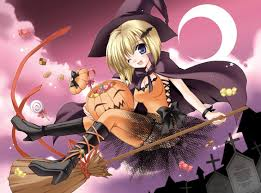 a witch on a broom halloween anime wallpaper