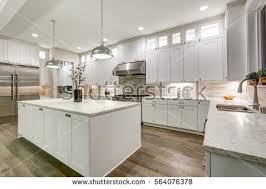 gourmet kitchen island gourmet kitchen features white shaker cabinets stock photo