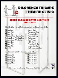 thanksgiving 2014 dates dilorenzo tricare health clinic dthc clinic closure dates