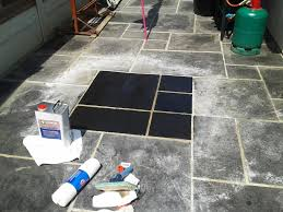 Patio Sealant Cleaning And Sealing A Black Limestone Patio In Broadstone Dorset