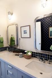 Navy And Green Bathroom Gray Kids Bathroom Vanity With Green Nautical Cage Sconces