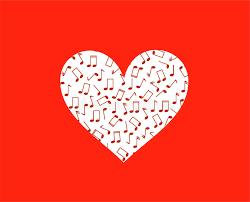 imagenes de notas rojas silueta del corazón en notas rojas y musicales ilustración del