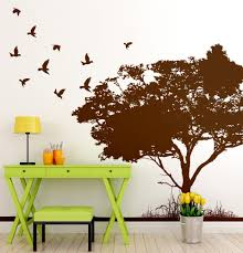 flying birds on tree wall decal 6054