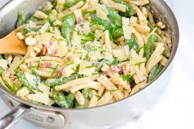 Creamy Pasta Salad Recipes by Pasta With Yogurt Bacon And Snap Peas
