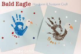 bald eagle handprint and footprint craft reading confetti