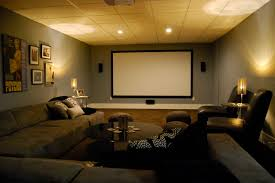 Home Theater Sectional Sofas Basement Media Room With Sectional Sofa And Giraffe Texture