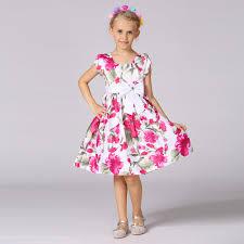 wholesale kids wear new model dress floral printed summer