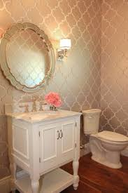 wallpaper bathroom designs powder room arabesque tiles limestone tops kohler kathryn