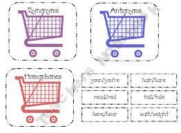 let go shopping activity synonym antonym homophones synonyms