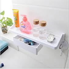 Storage Drawers Bathroom Strong Suction Cup Wall Mounted Towel Soap Storage Rack Shelf